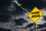 Storm Ahead Warning Sign in Thunderous Background - 106173364