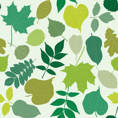 Tree leaves seamless pattern