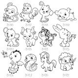 Set of zodiac signs in cartoon style.