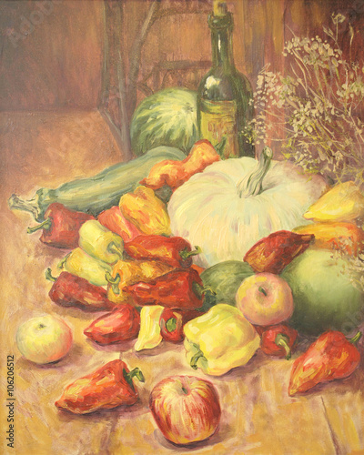 Obraz na Szkle Still life with vegetables and fruit. Apple, pepper, wine, watermelon, zucchini. Oil painting