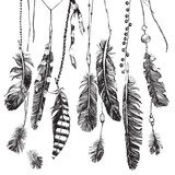 Tribal background with hand drawn feathers
