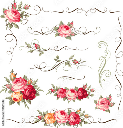 Fototapeta Set of calligraphic floral elements