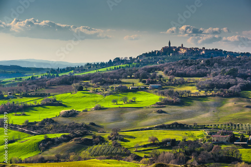 Indescribable panoramic view of the Tuscan countryside.