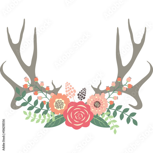 Fotobehang Hipster Hert Deer Antlers with Flowers.Wedding Floral set.