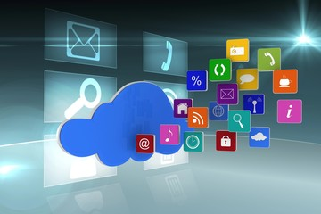 Cloud graphic with app tiles