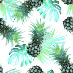 Pineapples and tropical leaves background.. Vintage Seamless Pattern