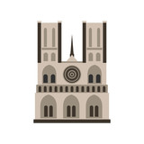 Norte Dame Cathedral, Paris icon, flat style