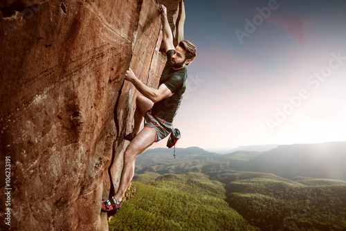 Poster Climber on a cliff