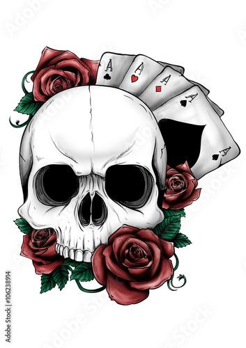 Teschio con rose stockfotos und lizenzfreie bilder auf for Teschi da disegnare