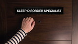 Female hand is knocking on Sleep Disorder specialist door for a medical exam appointment, woman in front of doctor