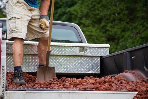 Foto op Plexiglas Canada unloading lava stone from truck