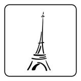 Eiffel Tower in a simple sketch style. Big famous symbol of Paris, France, romantic, love. Doodle french art. Landmark architecture hand draw. Isolated contour on white background. Vector illustration