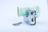 deadbolt with European banknotes and key