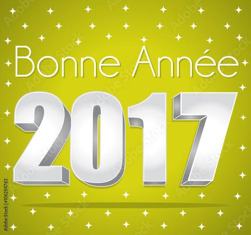 2017 bonne ann e carte de v ux toil e verte et argent texte en fran ais stock image and - Texte carte de voeux 2017 ...