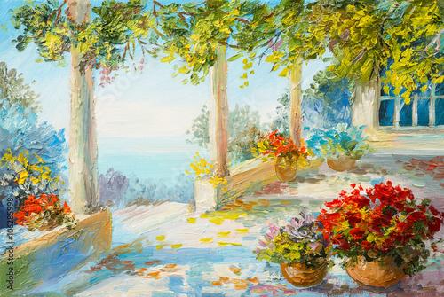 Oil painting landscape - terrace near the sea, flowers - 106285998