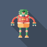 Robot frog flat square icon with long shadows.