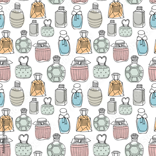 Cotton fabric Seamless vector pattern with perfume bottles