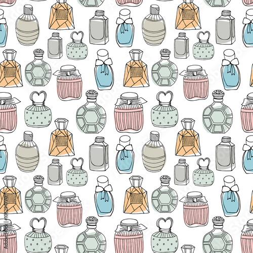 Materiał do szycia Seamless vector pattern with perfume bottles