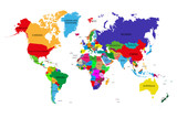 Colored political world map with names of sovereign countries and larger dependent territories. Different colors for each countries