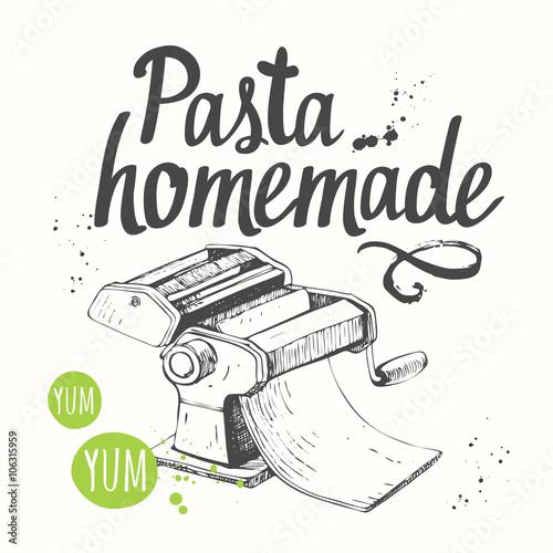Vector illustration with pasta machine. Sketch design.