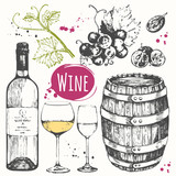 Wine set. Winemaking products in sketch style.  - 106317156