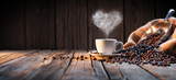 Fototapety Traditional Coffee Cup With Heart-Shaped Steam On Rustic Wood