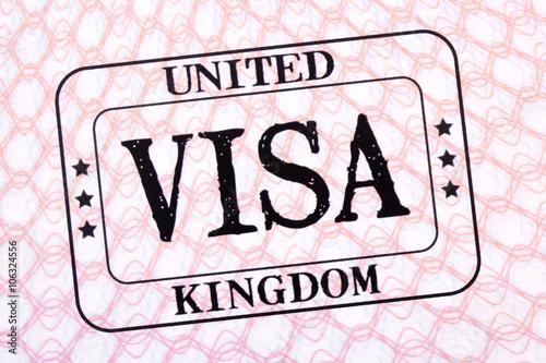 Poster UK visa immigration stamp passport page close up
