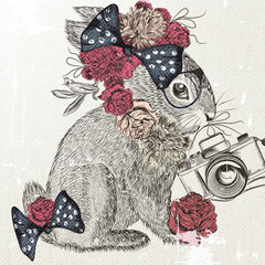 Fashion background with cute rabbit and bow trendy background