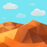 Low poly vector desert mountain landscape