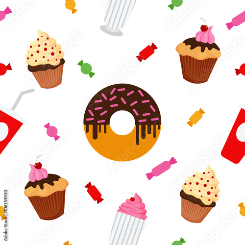 Cotton fabric Sweet Food. Fast Food. Cake, Donut, Candies, Chocolate, Muffin. Seamless Pattern