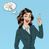 Fototapety Business Woman. Great Idea. Woman at Work. Success in Business. Pop Art Banner