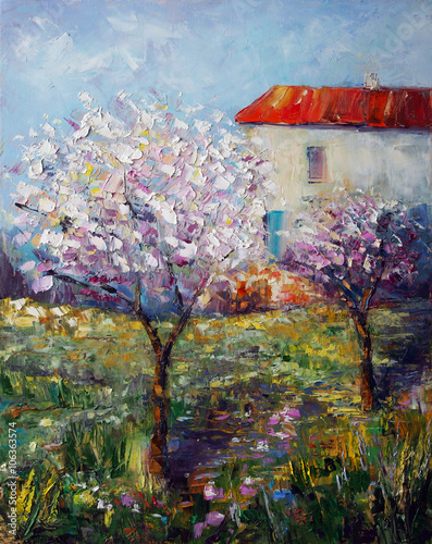 Art Oil Painting Picture Blooming Garden © shvets_tetiana