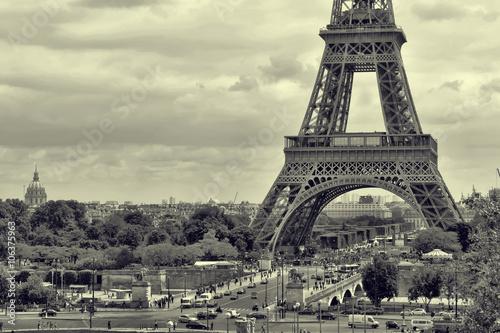 Panorama Eiffel Tower in Paris. Vintage view. Tour Eiffel old retro style. - 106375963