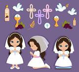 Set of design elements for First Communion for girls - 106406563