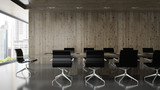 Fototapety Interior of  boardroom with wooden wall 3D rendering