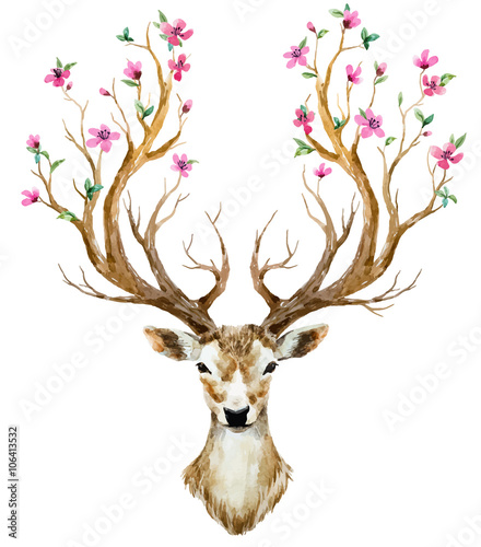 Watercolor hand drawn deer - 106413532