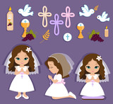 Set of design elements for First Communion for girls - 106414370