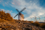 Windmills at the sunset in Consuegra town in Spain - 106423358