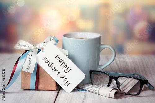Father's day holiday greeting card.Present box mug.