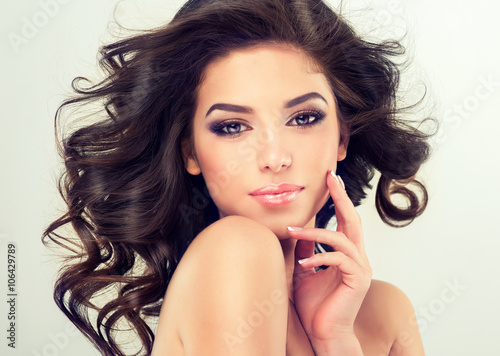 Poster, Tablou Beautiful girl light brown hair with an elegant hairstyle , hair wave ,curly hai