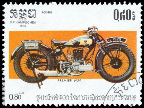 Stamp printed in Kampuchea shows Premier Poster