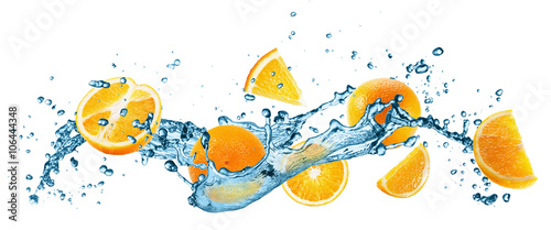 water splash with oranges on the white background - 106444348