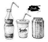 Fototapety Vector soda drawing. Hand drawn soda illustrations.