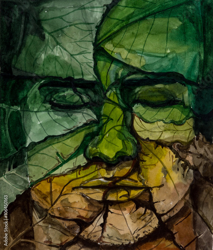 Face of man from leaves with closed eyes, watercolor painting - 106450163