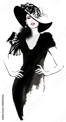 Poster Art Studio Fashion woman model with a black hat