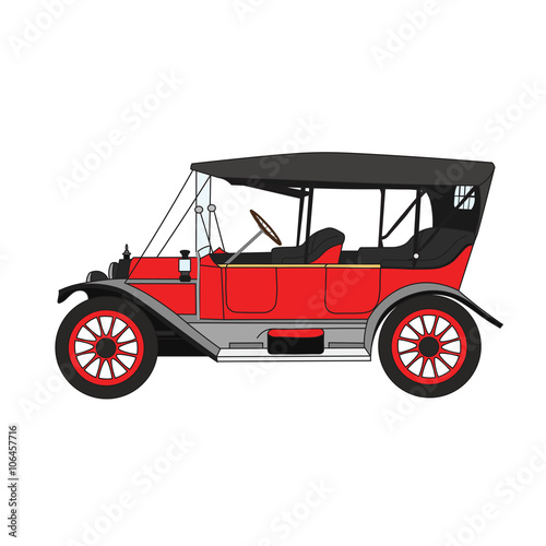 Foto op Plexiglas F1 Red cartoon retro car. Vector retro convertible.