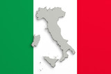 Silhouette of Italy map with flag