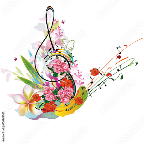 Foto op Canvas Bloemen vrouw Summer music with flowers and butterfly, colorful splashes.