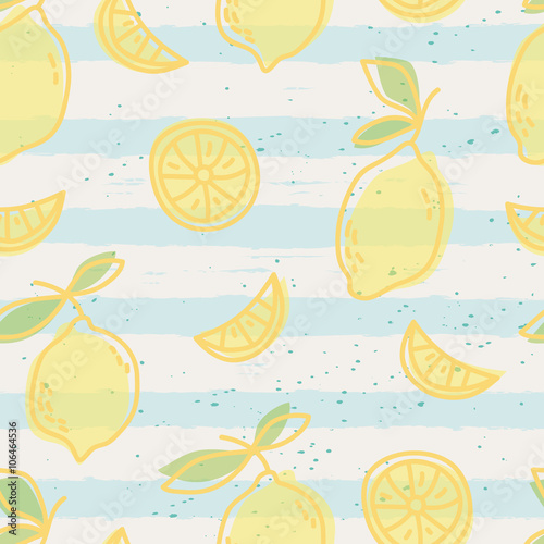 seamless pattern with lemon fruits - 106464536