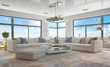 Moderne, luxuriöse Penthouse Wohnung mit einem Wohnzimmer. - 106469770